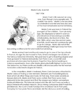 Biography Bank: MARIE CURIE, SCIENTIST w/ 15 Reading Compr