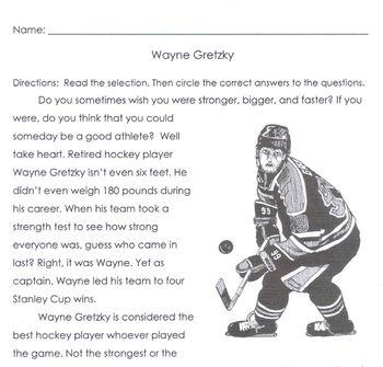Sports Hockey: WAYNE GRETZKY, STANLEY CUP WINNER 5 Multiple Choice Comprehension
