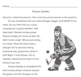 Sports Hockey: WAYNE GRETZKY, STANLEY CUP WINNER 5 Multiple Choice Comprehension