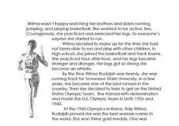 Sports Track: WILMA RUDOLPH, OLYMPIC CHAMPION w/ 6 Multiple Choice Read Compr Qs