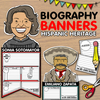 Biography Banners and Pennants for Hispanic Heritage Month