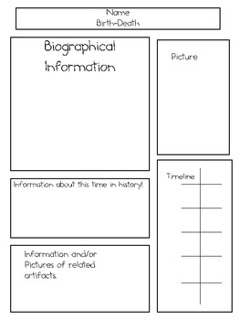 Biography Board Poster Layout ~ For Famous People or Characters