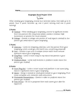 Biography Book Project 20-50-80 Menu