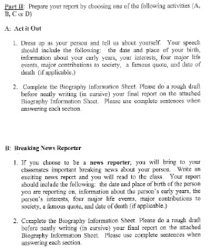 Biography Book Report - 4 Options (Multiple Modalities)