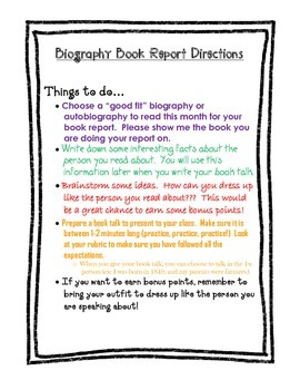 Biography Book Report Directions & Rubric