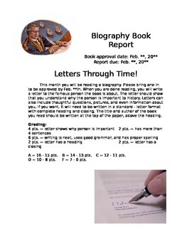 Biography Book Report - Letters through Time!