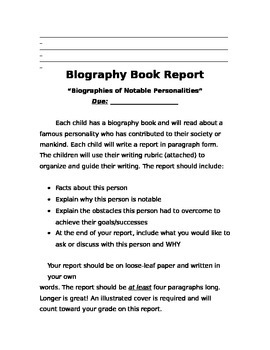 Biography Book Report Task and Rubric