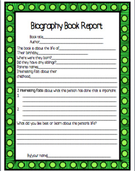 biography book report template by k6 classroom adventures. Black Bedroom Furniture Sets. Home Design Ideas
