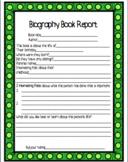 Biography Book Report Template