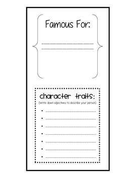 Biography Book Report Trifold