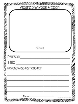 Biography Graphic Organizer, Biography Book Report