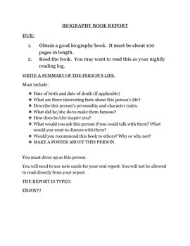 Biography Book Report and Rubric