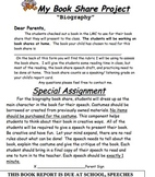 Biography Book Report or Book Speech