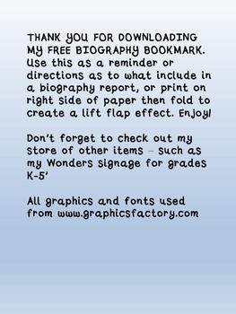Biography Bookmark