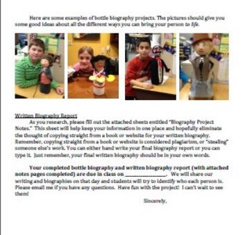 Biography Bottle Project Notes & Parent Letter