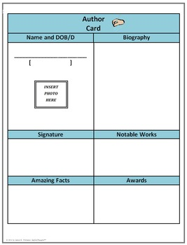 Biography Cards Template for Informational Writing Common Core
