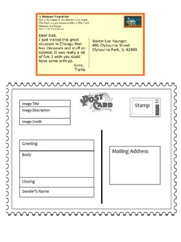 Biography, Characterization or Setting Description Post Card Activity