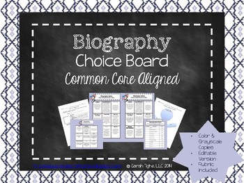 Biography Choice Board (Common Core Aligned)