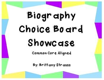 Biography Choice Board Showcase - Common Core Aligned