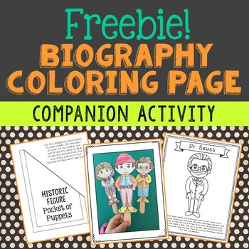 Biography Coloring Page Craft Companion Activity, Dr. Seuss, Michael Jordan
