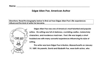 Biography EDGAR ALLAN POE, AMERICAN WRITER w 15 Mult Choice Comprehension, Vocab