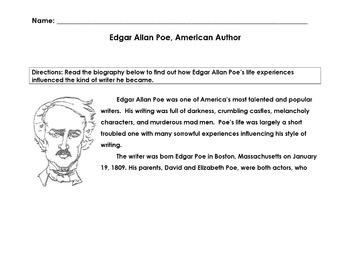 Biography EDGAR ALLAN POE, AMERICAN WRITER w 15 Mult Choice Comprehension, Vocab