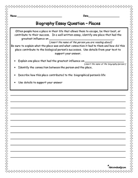 Biography Informational Essay Writing Prompts 6 different Tests ASSESSMENTS