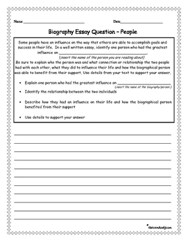 Biography Informational Essay Writing Prompts 6 different