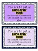 Biography Genre Library Cards for Students Resource