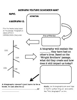 Biography Genre Scavenger Hunt- Introductory Lesson