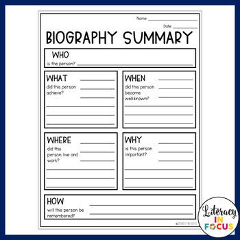 Biography Summary Graphic Organizer