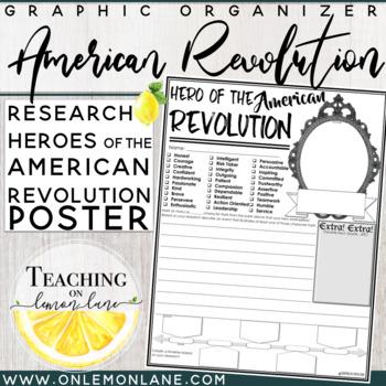 Biography Graphic Organizer American Revolution Hero Report Research