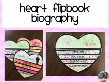 Biography Heart Flipbook/ Biography Craft/Black History Month Project