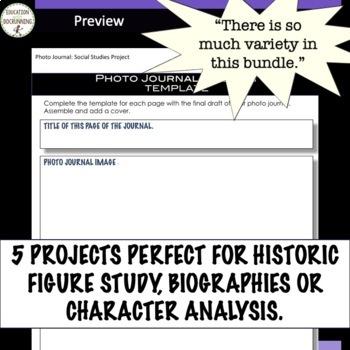 Biography, Character or Historic Figure Project Bundle with EDITABLE Rubrics