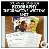 3rd, 4th, or 5th Grade Biography Informative Writing Unit