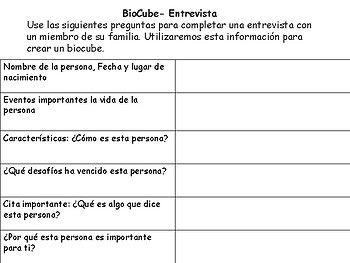 Biography Interview and BioCube Bilingual