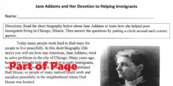 Biography JANE ADDAMS HELPED IMMIGRANTS Reading Comprehension Lesson 14 Question