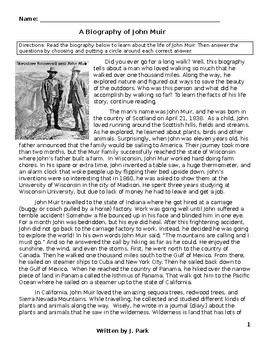 Biography: John Muir - Reading Comprehension & Vocabulary Lesson w/ 14 Questions