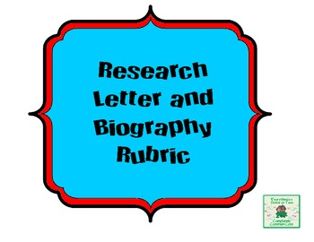 Biography Letter and Rubric