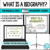 Biography Genre Lesson for Library PowerPoint and for Goog