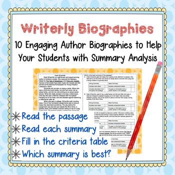 Biography Mini-Passages w/ Summary Analysis--Group Work, Test Prep