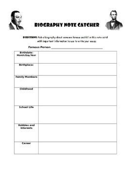 Biography Note Catcher
