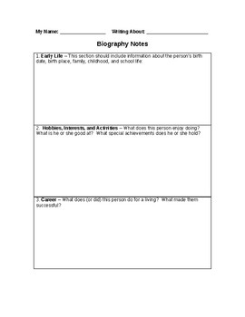 Biography Note Taking Graphic Organizer
