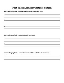 Biography Note Taking Sheets