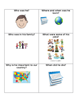 Biography Notetaking Sheet for Primary Students