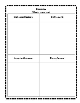 Biography Organizer and Anchor Chart