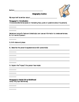 bio book outline Outline templates dozens of outline templates have been included with  non-fiction write a biography book report the book title author publisher date the book was .