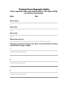 Biography Outline And Template