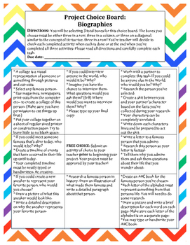 Biography PROJECT: CHOICE BOARD! NON-FICTION