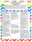 Biography PROJECT: CHOICE BOARD! NON-FICTION Great for hom